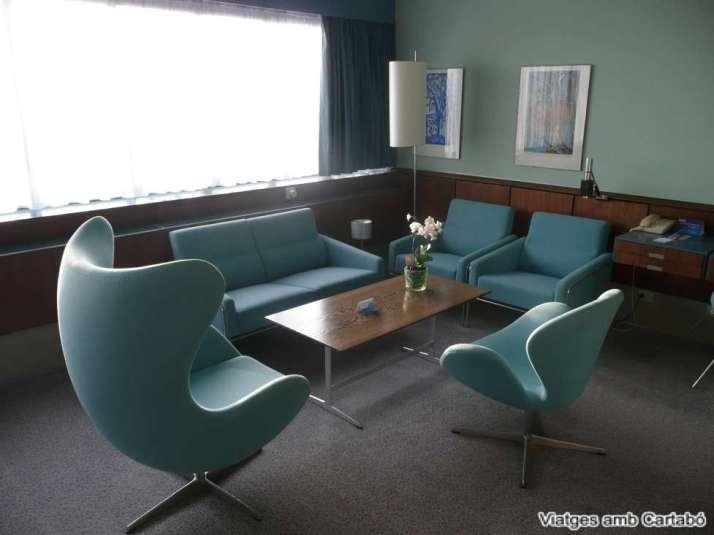 Habitació original dissenyada per Arnie Jacobsen al Radisson Blu Royal Hotel Copenhagen
