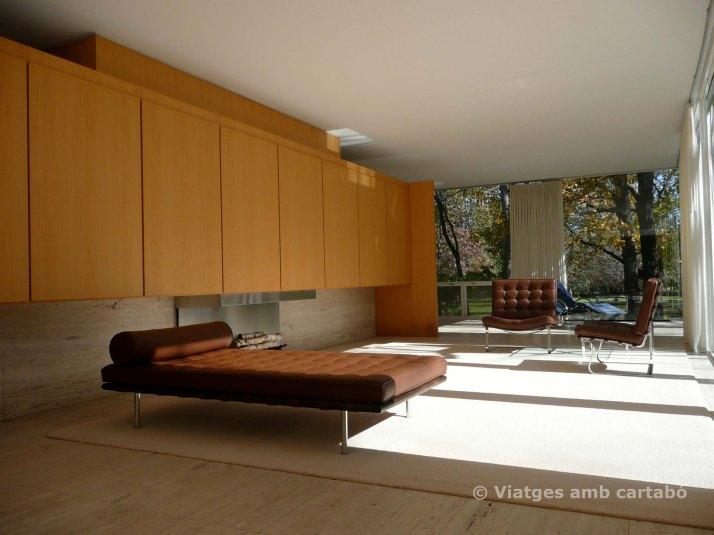 Sala d'estar i dormitori de la Farnsworth house