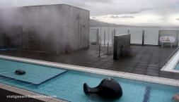 Escultures, piscina i banys de vapor de la Fontana de Laugarvatn