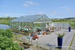 Jardins dels entorns de la Nordic House, amb la cafeteria a l'hivernacle