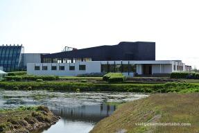 Vista general de la Nordic House davant del llac Þorfinnstjörn