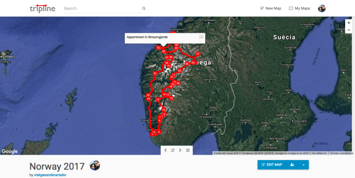 Mapa de Noruega 2017