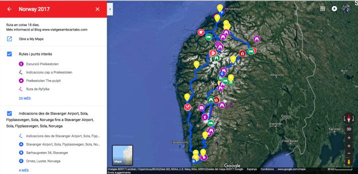 Mapa de la ruta per Noruega